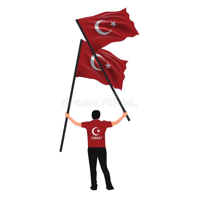 15 de julio, la democracia y el día de la unidad nacional vector el dibujo Sirva sostener dos banderas turcas en su mano stock de ilustración