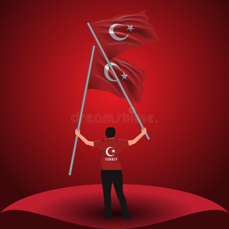 15 de julio, la democracia y el día de la unidad nacional vector el dibujo Sirva sostener dos banderas turcas en su mano libre illustration