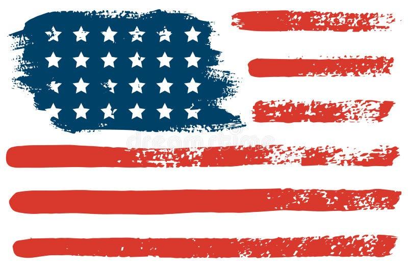 4 de julio la mano de la bandera de los E.E.U.U. dibuja los movimientos del cepillo Fondo abstracto del grunge del vector libre illustration