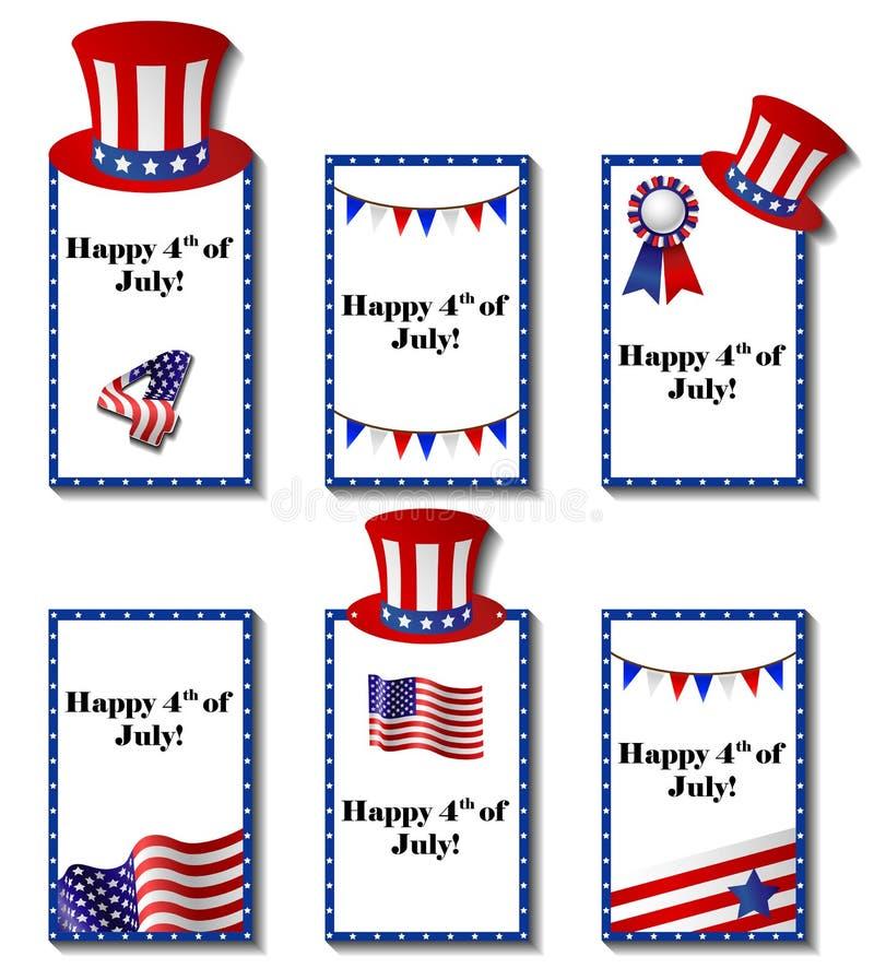 4 de julio sistema de tarjeta patriótico imagenes de archivo