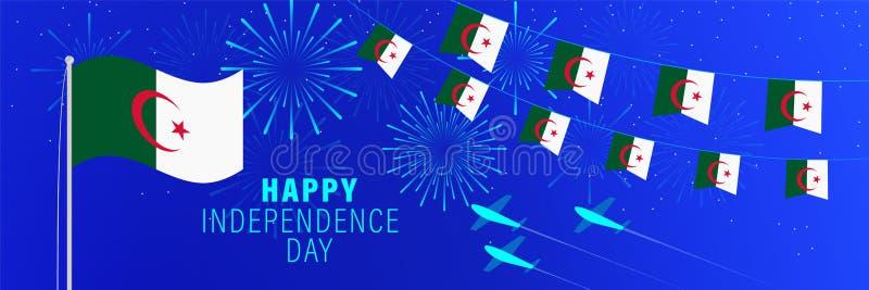5 de juliotarjeta de felicitación del Día de la Independencia de Argelia Fondo de la celebración con los fuegos artificiales, la libre illustration