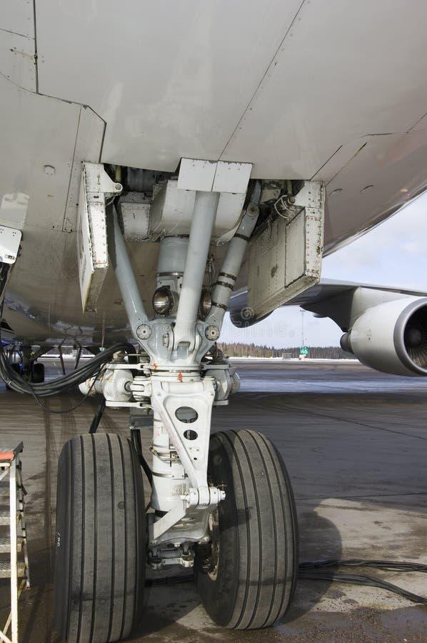De jumbojet van het het wielhuis van vliegtuigen stock foto