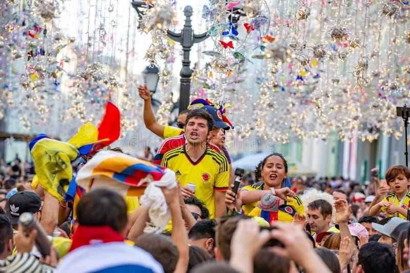 16 de junho de 2018 Campeonato do mundo 2018, fan de futebol nas ruas de M fotos de stock