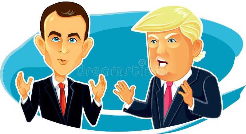 4 de junho de 2017 caricatura de Emmanuel Macron Donald Trump Vetora ilustração do vetor