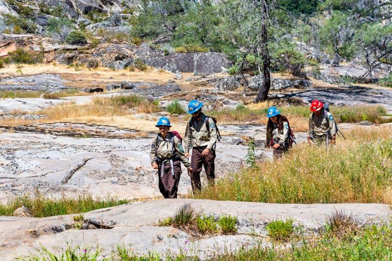 26 de junho de 2019 parque nacional de Yosemite/CA/membros do CCC do corpo conservação dos EUA - Califórnia que caminham no reser imagens de stock royalty free