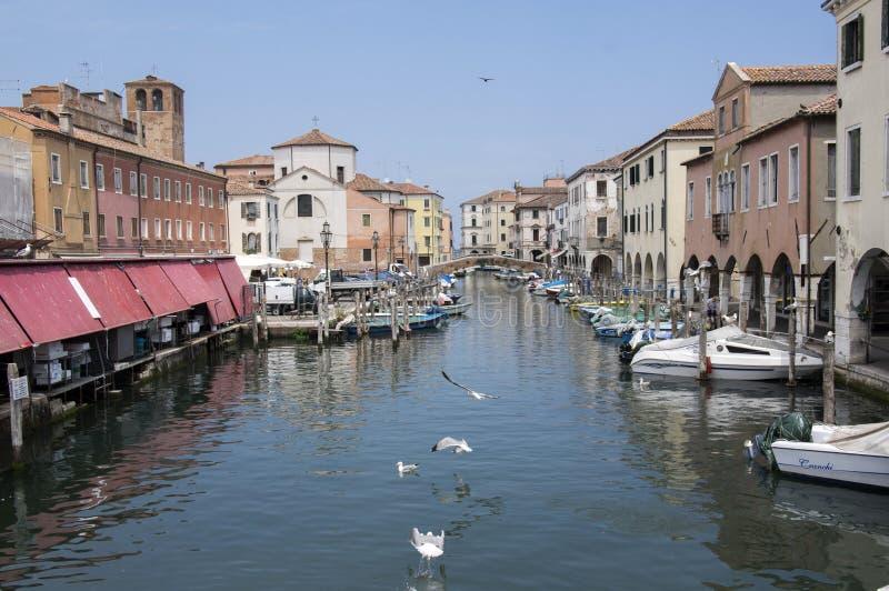 15 de junho de 2017 tarde em ruas de Chioggia, cena romântica com canal, barcos, construções históricas velhas, ponte e reflexões fotos de stock royalty free