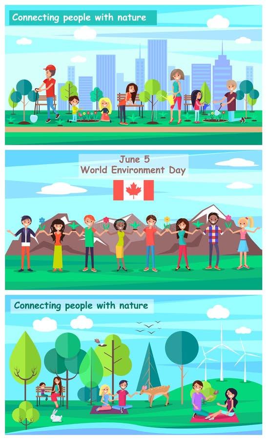 5 de junio carteles promocionales del día del ambiente mundial stock de ilustración