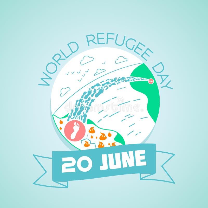 20 de junio día de refugiado de mundo ilustración del vector