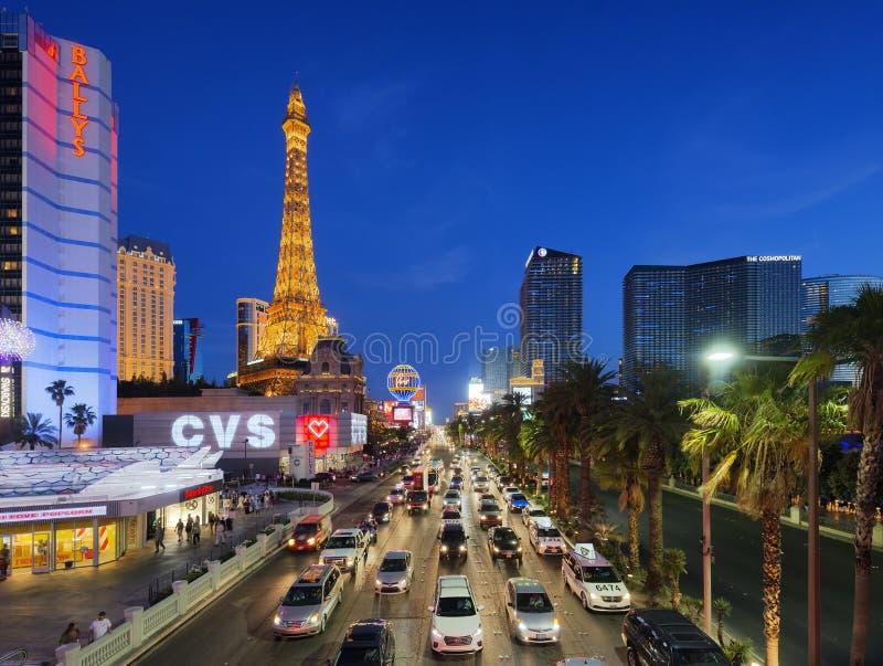 1 de junio de 2016 tira de Las Vegas en la oscuridad en Nevada, Las Vegas, los E.E.U.U. fotos de archivo libres de regalías