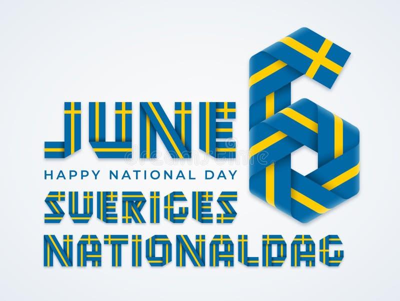 6 de junio, diseño congratulatorio del día nacional de Suecia con colores suecos de la bandera Ilustraci?n del vector ilustración del vector