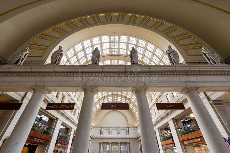 1 de junio de 2018 - Washington DC, Estados Unidos: Interior de la estación de la unión del Washington DC fotos de archivo libres de regalías