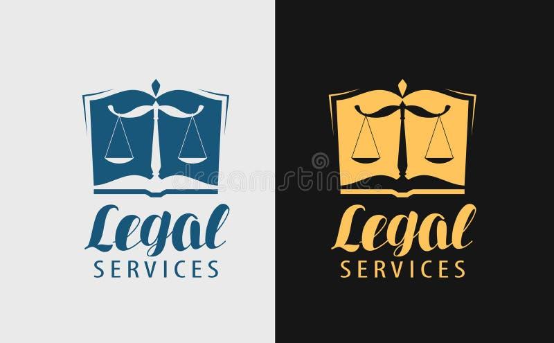 De juridische dienstenembleem Notaris, rechtvaardigheid, advocaatpictogram of symbool Vector illustratie vector illustratie