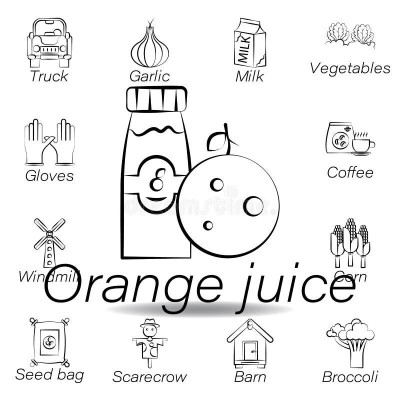 De jus d'orangehand trekt pictogram Element van de landbouw van illustratiepictogrammen De tekens en de symbolen kunnen voor Web, stock illustratie