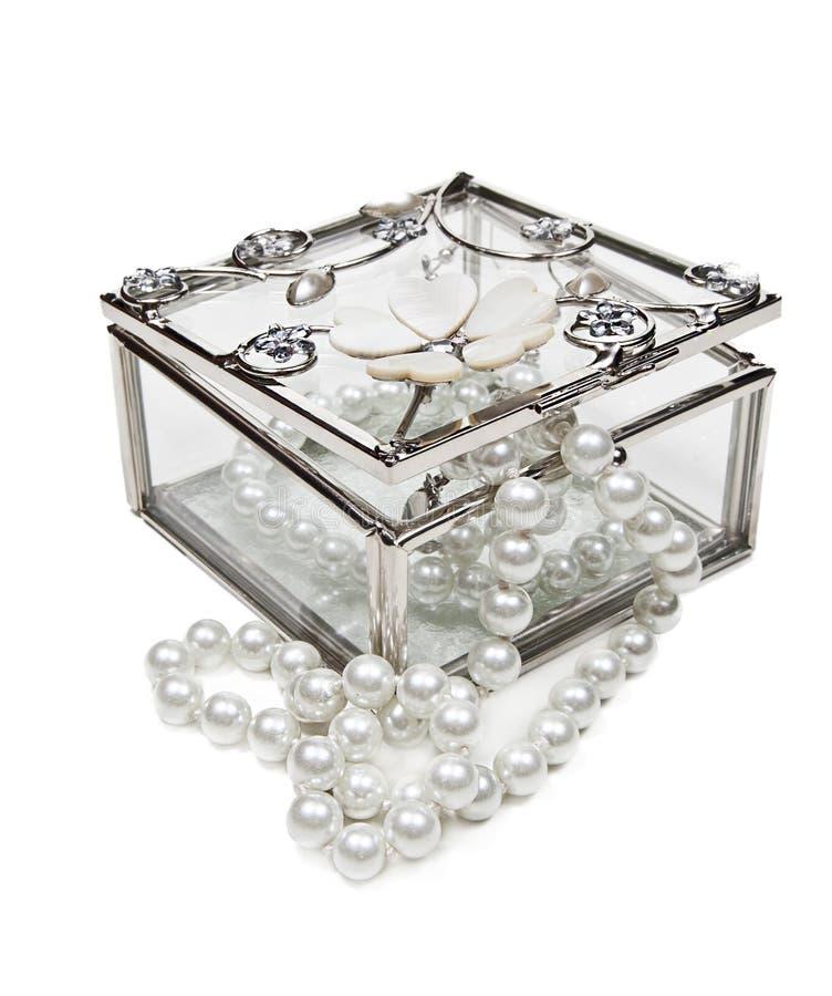 De juwelendoos van het glas royalty-vrije stock foto