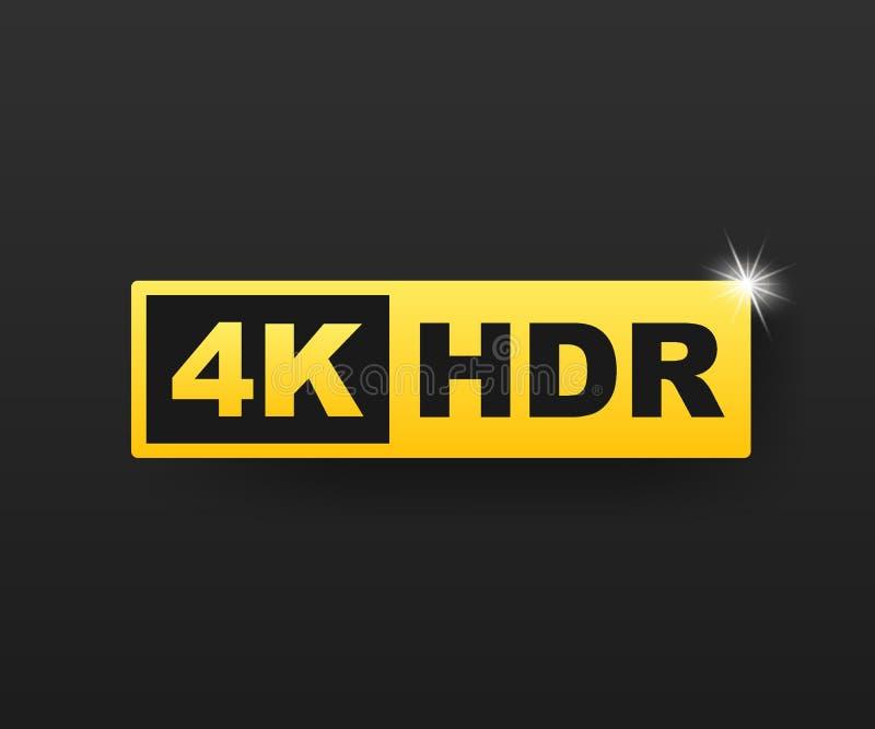 de 4K símbolo ultra HD, marca alta da definição da definição 4K, HDR Ilustra??o conservada em estoque do vetor ilustração do vetor