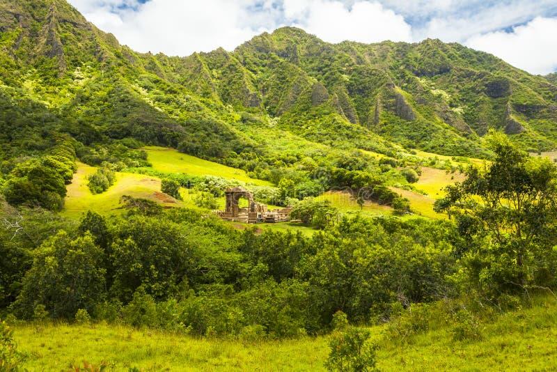 ` De ka d'ohau d'Hawaï une vallée d'awa de ` avec le soleil photographie stock