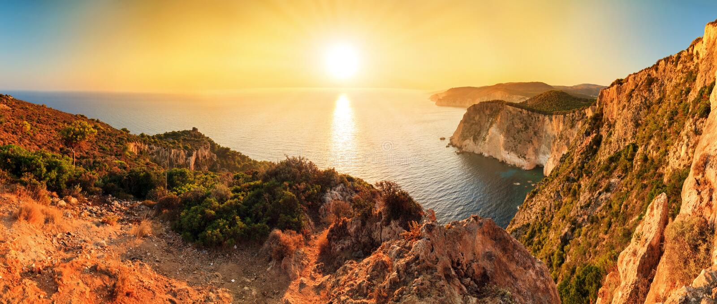De Kaap Keri van het zonsondergangpanorama royalty-vrije stock foto