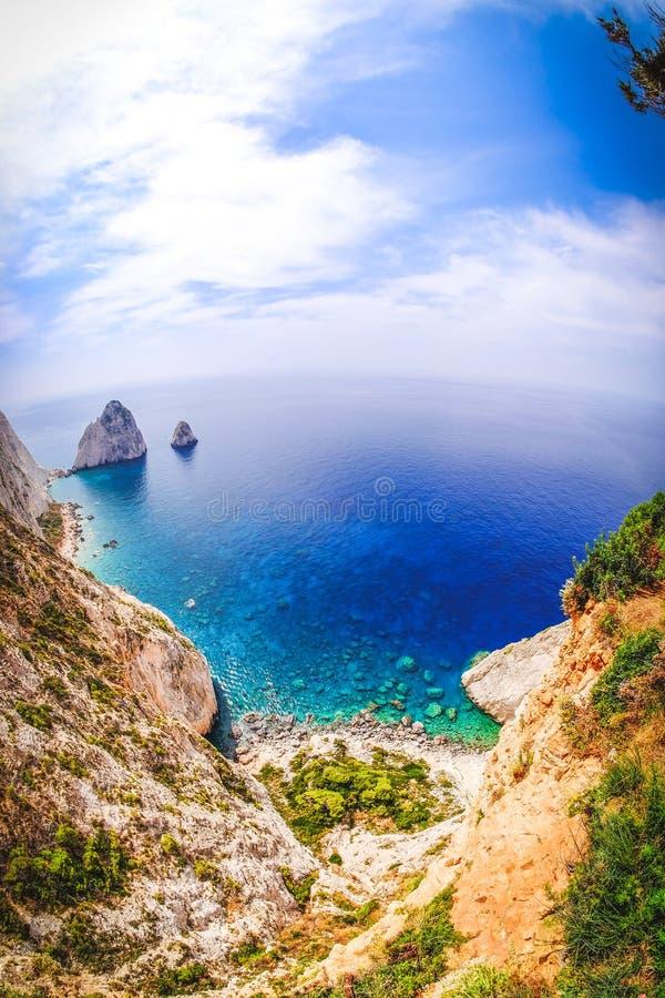 De kaappanorama Zakynthos Griekenland van Keri Breed fisheyeeffect royalty-vrije stock foto