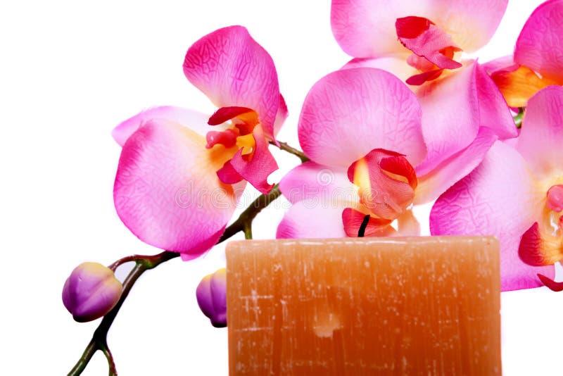 De kaars en de bloem van het kuuroord voor aromatherapy stock afbeelding