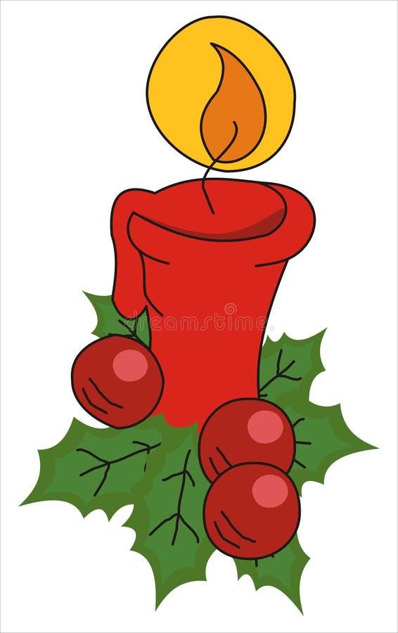 De kaars en de hulst van Kerstmis royalty-vrije illustratie