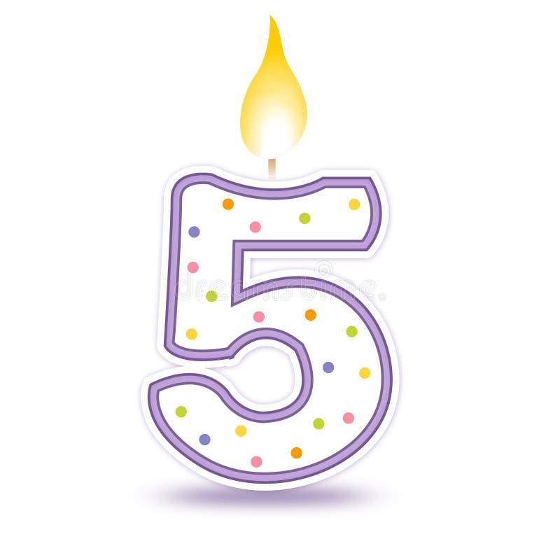 De kaars van de verjaardag - 5 vector illustratie