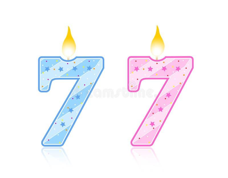 De kaars van de verjaardag - 7 stock illustratie