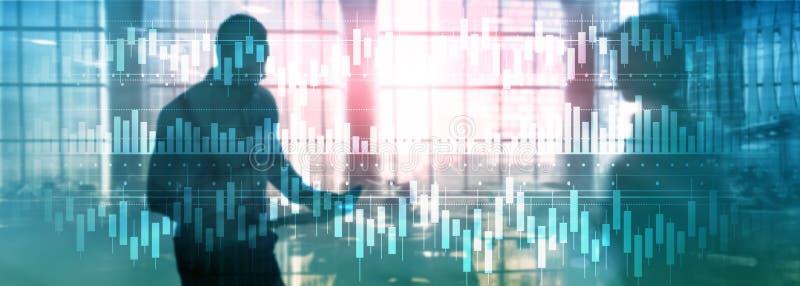 De kaarsen brengen de voorraad van de diagramgrafiek van de bedrijfs handelinvestering financiën het concept gemengde media dubbe royalty-vrije illustratie