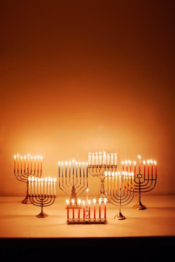 De Kaarsen van de Chanoeka stock foto