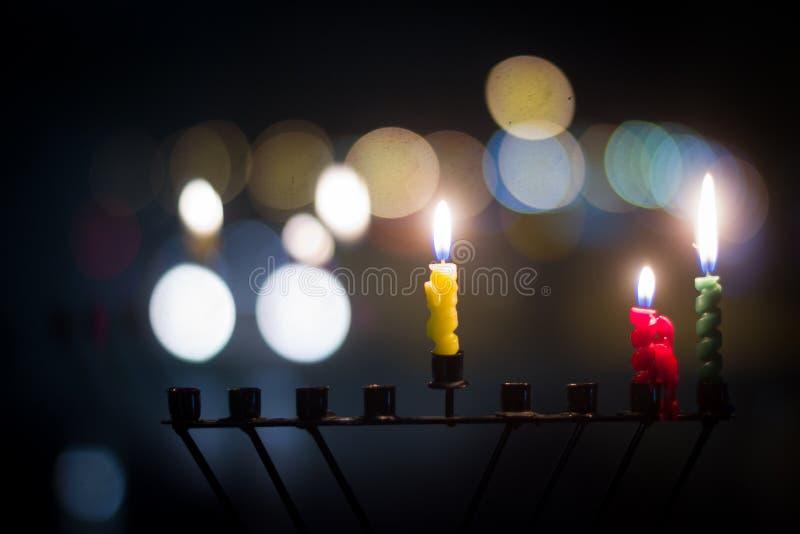 De kaarsen van de Chanoeka royalty-vrije stock foto's