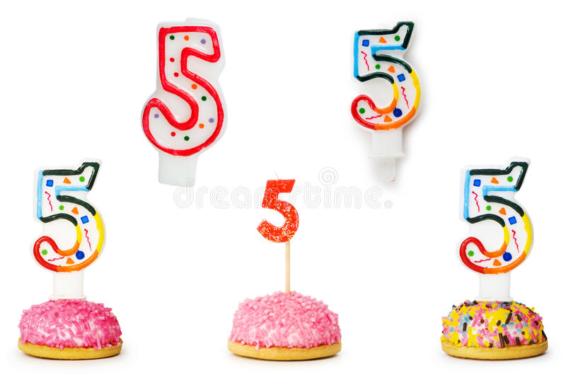 De kaarsen van de verjaardag stock foto