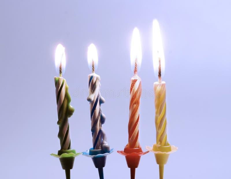 Verjaardagskaarsen stock foto's