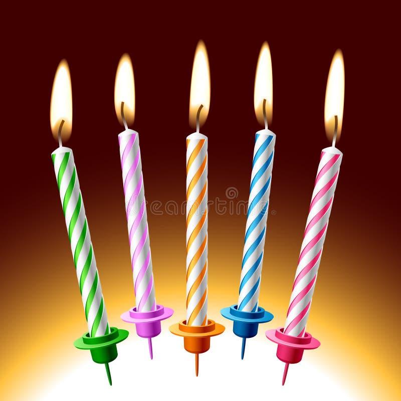 De kaarsen van de verjaardag. Vector illustratie. royalty-vrije illustratie