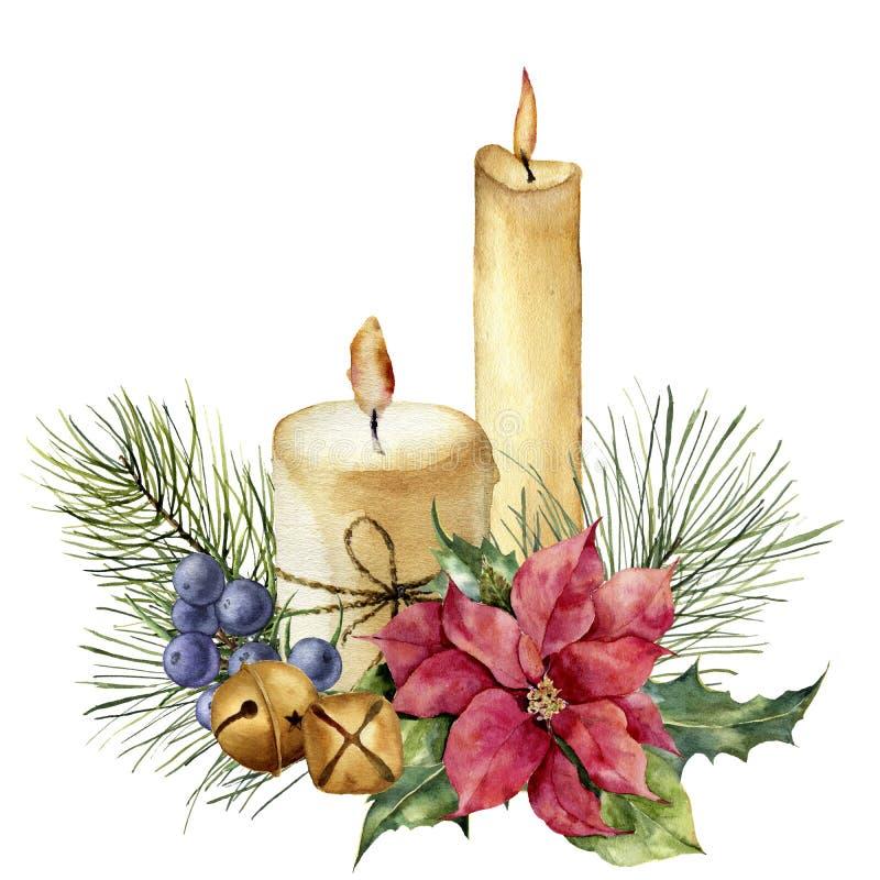 De kaarsen van waterverfkerstmis met vakantiedecor De hand schilderde bloemensamenstelling met bladeren, poinsettia, klokken, jen vector illustratie