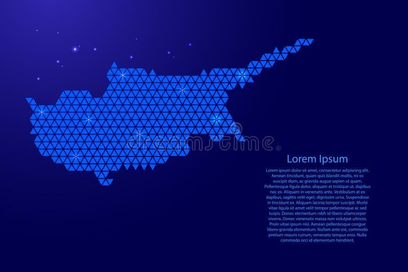 De kaart abstract schema van Cyprus van blauwe driehoeken die patroon geometrische achtergrond met knopen en ruimtesterren voor b vector illustratie