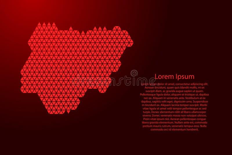 De kaart abstract schema van Nigeria van rode driehoeken die patroon geometrische achtergrond met knopen voor banner, affiche, he royalty-vrije illustratie