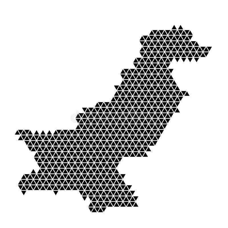 De kaart abstract schema van Pakistan van zwarte driehoeken die patroon geometrische achtergrond met knopen herhalen Vector illus royalty-vrije illustratie