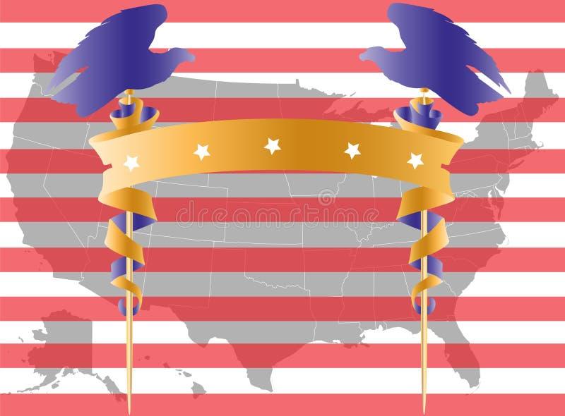 De kaart amd vlag van de V.S. vector illustratie