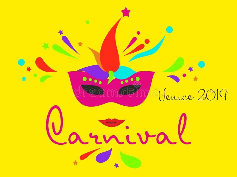 De kaart of de banner van Carnaval met typografieontwerp Vectorillustratie met het retro gloeilampendoopvont, wimpels, confettien royalty-vrije illustratie