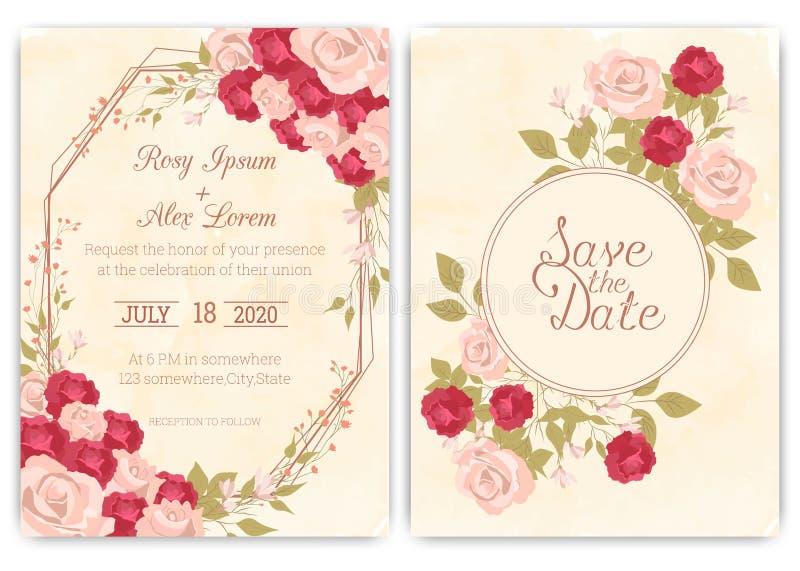 De kaart Bloemenhand getrokken kader van de huwelijksuitnodiging stock illustratie