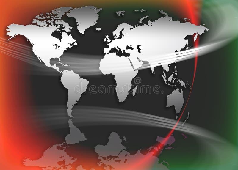 De kaart of de bol van de wereld stock illustratie