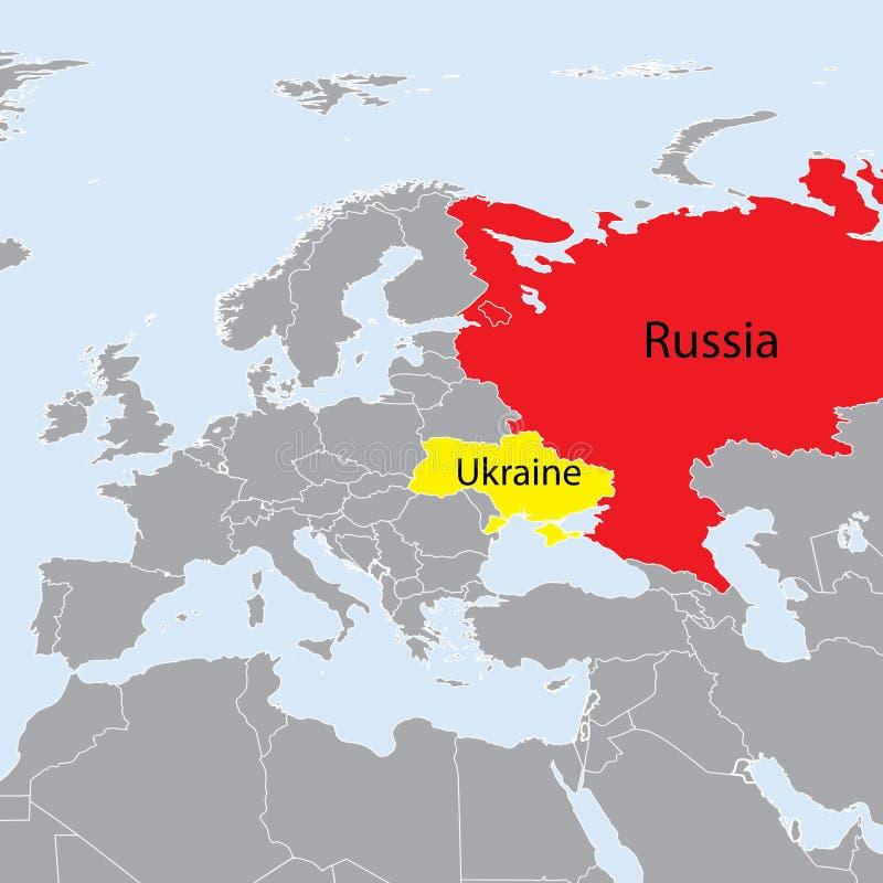 De kaart de Oekraïne en Rusland van Europa stock illustratie