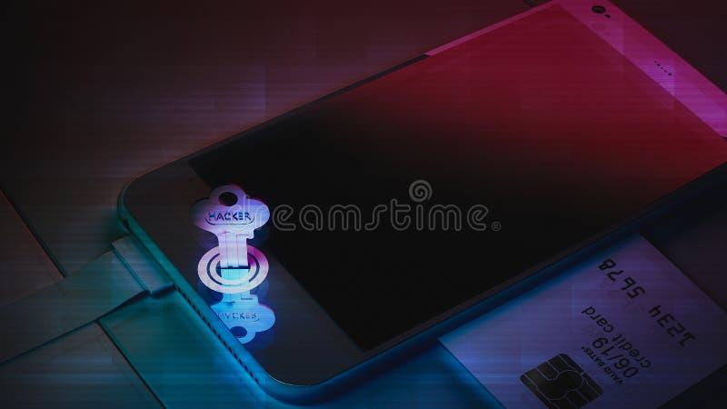 De kaart is de sleutel om de telefoon te openen Diefstal van mobiele telefoons stock afbeeldingen