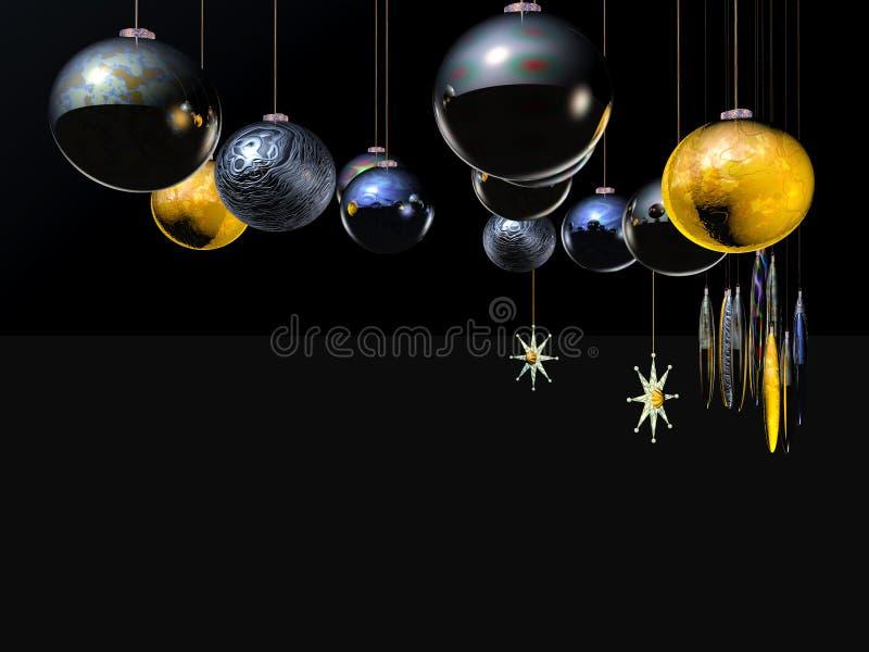 De Kaart, de ster en de ballen van Kerstmis op een draad. royalty-vrije illustratie