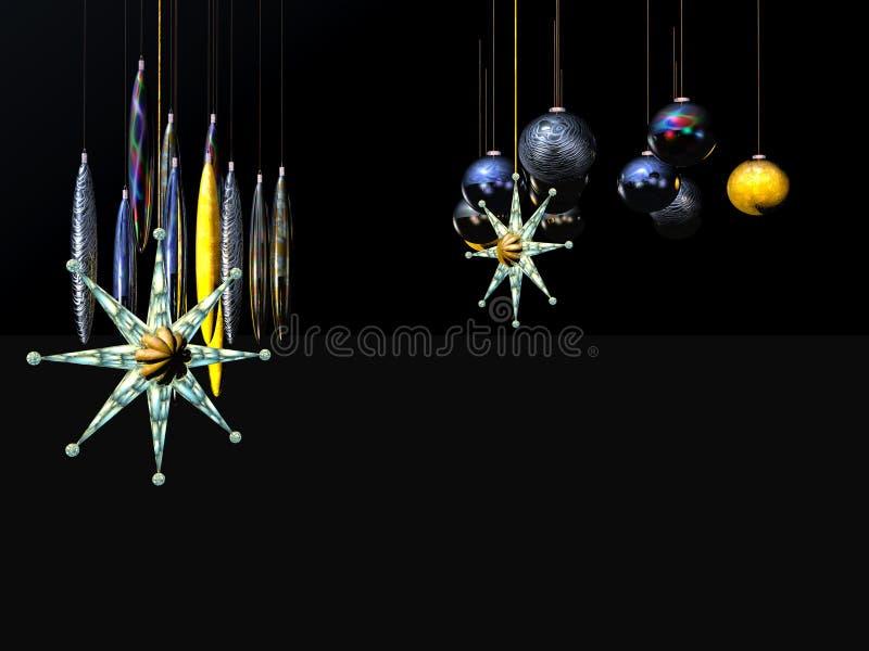 De Kaart, de ster en de ballen van Kerstmis op een draad. stock illustratie