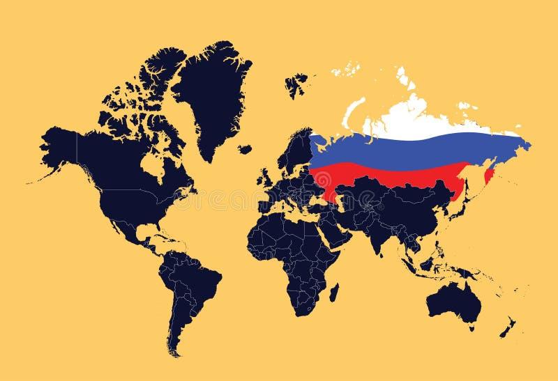 De kaart die van de wereld Russische Federatie toont stock illustratie