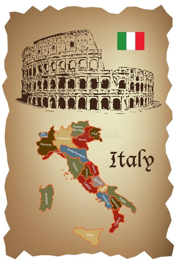 De kaart en Colloseum van Italië stock illustratie
