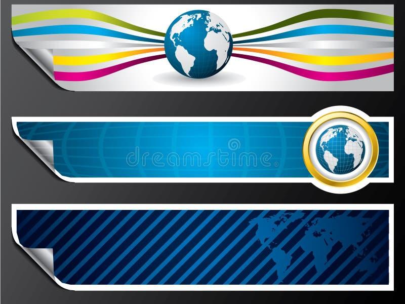 De kaart en de bolbanners van de wereld stock illustratie