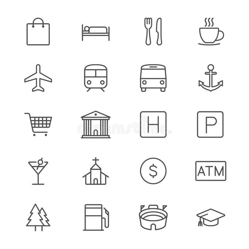 De kaart en de plaats verdunnen pictogrammen stock illustratie