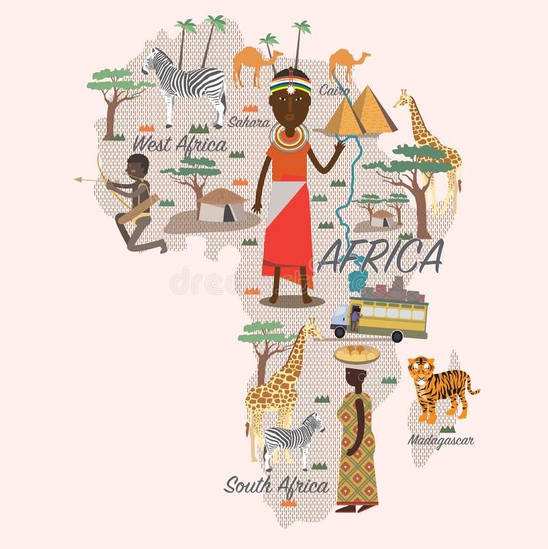 De kaart en de reis van Afrika vector illustratie