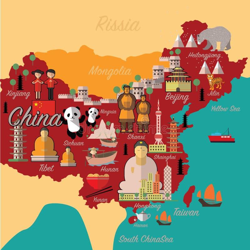 De kaart en de reis van China Het oriëntatiepunt van China stock illustratie